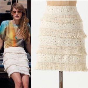 [Anthropologie] Cream Crochet Fringe Tiered Skirt